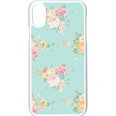 Mint,shabby Chic,floral,pink,vintage,girly,cute Apple Iphone X Seamless Case (white) by 8fugoso