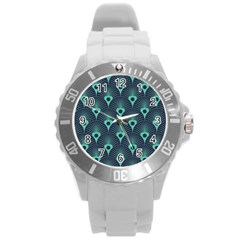 Blue,teal,peacock Pattern,art Deco Round Plastic Sport Watch (l) by 8fugoso