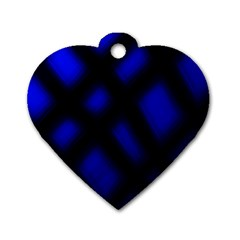 Abstract Plaid Dog Tag Heart (one Side) by vwdigitalpainting