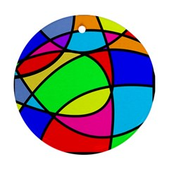 Abstract Curves Round Ornament (two Sides) by vwdigitalpainting