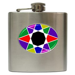 Compass Abstract Hip Flask (6 Oz) by vwdigitalpainting