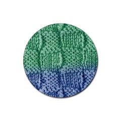 Knitted Wool Square Blue Green Rubber Coaster (round)  by snowwhitegirl