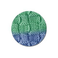 Knitted Wool Square Blue Green Magnet 3  (round) by snowwhitegirl