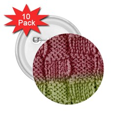 Knitted Wool Square Pink Green 2 25  Buttons (10 Pack)  by snowwhitegirl