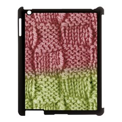 Knitted Wool Square Pink Green Apple Ipad 3/4 Case (black) by snowwhitegirl