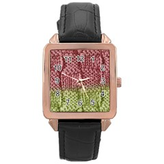 Knitted Wool Square Pink Green Rose Gold Leather Watch  by snowwhitegirl