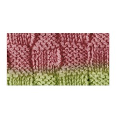 Knitted Wool Square Pink Green Satin Wrap by snowwhitegirl