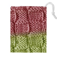 Knitted Wool Square Pink Green Drawstring Pouches (xxl) by snowwhitegirl