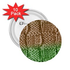 Knitted Wool Square Beige Green 2 25  Buttons (10 Pack)  by snowwhitegirl