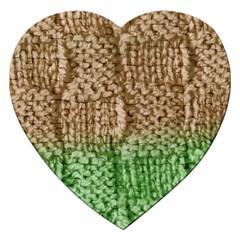 Knitted Wool Square Beige Green Jigsaw Puzzle (heart) by snowwhitegirl