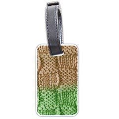 Knitted Wool Square Beige Green Luggage Tags (two Sides) by snowwhitegirl