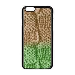 Knitted Wool Square Beige Green Apple Iphone 6/6s Black Enamel Case by snowwhitegirl