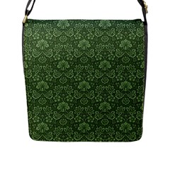 Damask Green Flap Messenger Bag (l)  by vintage2030