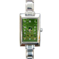 Happy St  Patrick s Day With Clover Rectangle Italian Charm Watch by FantasyWorld7