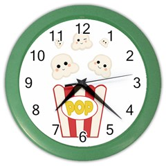 Cute Kawaii Popcorn Color Wall Clocks by Valentinaart