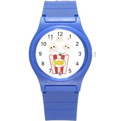 Cute Kawaii Popcorn Round Plastic Sport Watch (s) by Valentinaart