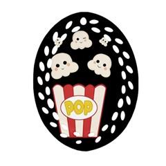 Cute Kawaii Popcorn Oval Filigree Ornament (two Sides) by Valentinaart