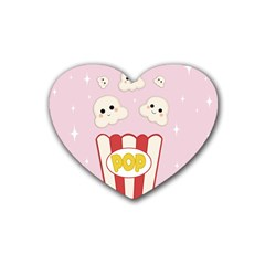 Cute Kawaii Popcorn Rubber Coaster (heart)  by Valentinaart
