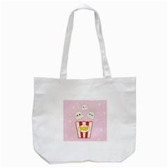 Cute Kawaii Popcorn Tote Bag (white) by Valentinaart