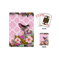 Shabby Chic, Floral,pink,birds,cute,whimsical Playing Cards (mini)  by 8fugoso
