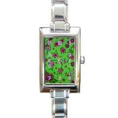 Visions Of Pink Rectangle Italian Charm Watch by dawnsiegler