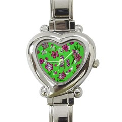 Visions Of Pink Heart Italian Charm Watch by dawnsiegler