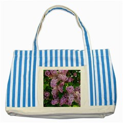 Lilacs 2 Striped Blue Tote Bag by dawnsiegler