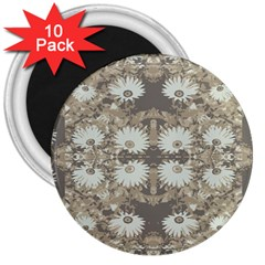Vintage Daisy Floral Pattern 3  Magnets (10 Pack)  by dflcprints