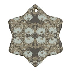 Vintage Daisy Floral Pattern Snowflake Ornament (two Sides) by dflcprints