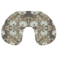 Vintage Daisy Floral Pattern Travel Neck Pillows by dflcprints