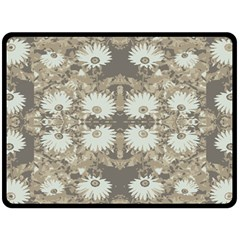 Vintage Daisy Floral Pattern Double Sided Fleece Blanket (large)  by dflcprints