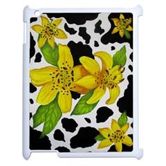 Floral Cow Print Apple Ipad 2 Case (white) by dawnsiegler