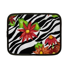 Floral Zebra Print Netbook Case (small)  by dawnsiegler