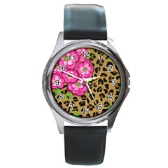 Floral Leopard Print Round Metal Watch by dawnsiegler