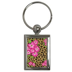 Floral Leopard Print Key Chains (rectangle)  by dawnsiegler