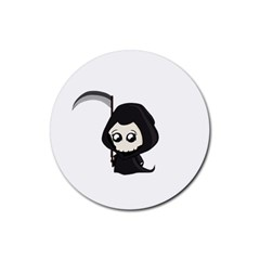 Cute Grim Reaper Rubber Coaster (round)  by Valentinaart