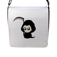 Cute Grim Reaper Flap Messenger Bag (l)  by Valentinaart