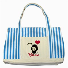 Cute Grim Reaper Striped Blue Tote Bag by Valentinaart