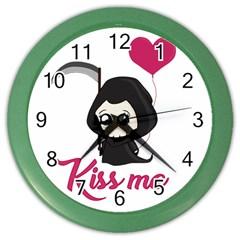 Cute Grim Reaper Color Wall Clocks by Valentinaart