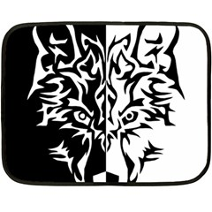 Wolf Black And White Design Double Sided Fleece Blanket (mini)  by zdesign