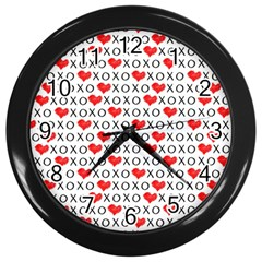 Xoxo Valentines Day Pattern Wall Clocks (black) by Valentinaart