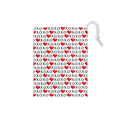 Xoxo Valentines Day Pattern Drawstring Pouches (small)  by Valentinaart