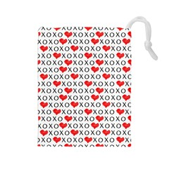 Xoxo Valentines Day Pattern Drawstring Pouches (large)  by Valentinaart