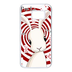 White Rabbit In Wonderland Samsung Galaxy S7 White Seamless Case by Valentinaart