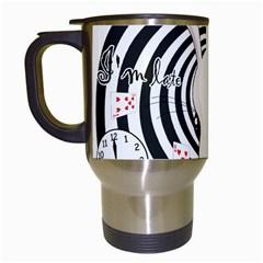 White Rabbit In Wonderland Travel Mugs (white) by Valentinaart