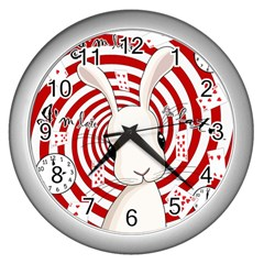 White Rabbit In Wonderland Wall Clocks (silver)  by Valentinaart