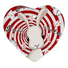 White Rabbit In Wonderland Heart Ornament (two Sides) by Valentinaart