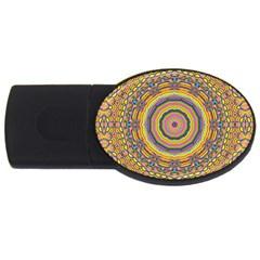 Wood Festive Rainbow Mandala Usb Flash Drive Oval (4 Gb) by pepitasart