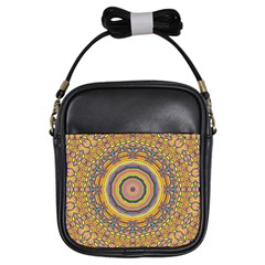 Wood Festive Rainbow Mandala Girls Sling Bags by pepitasart