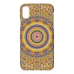 Wood Festive Rainbow Mandala Apple Iphone X Hardshell Case by pepitasart